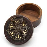 Lily Flower Round Wooden Box