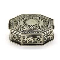 MWA-1482,Flower Motifs Silver Oxidised Small Box-a