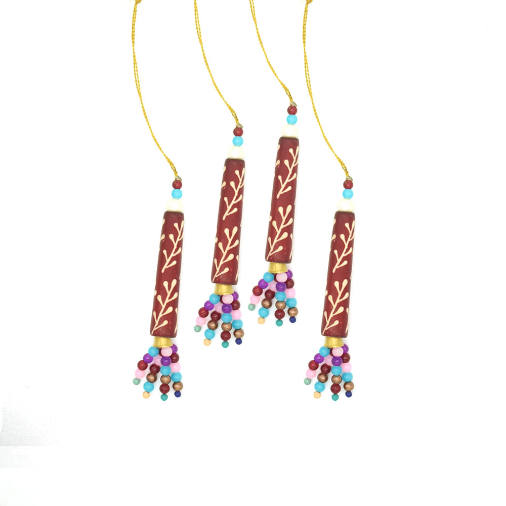 Long Floral Ornaments-Set of 4