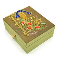 Zardozi Embroidered Peacock Jewellery Box