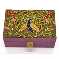 Zardozi Embroidered Dancing Peacock Jewellery Box