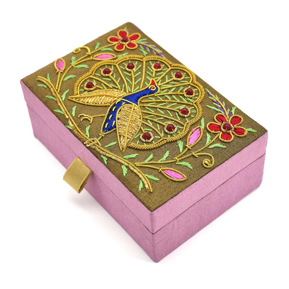 Zardozi Embroidered Dancing Peacock Jewellery Box