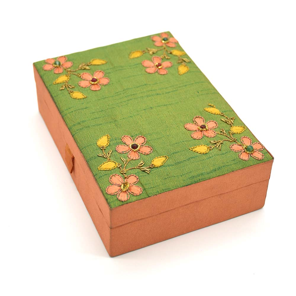 Beads Cotton Floral Jewellery Box