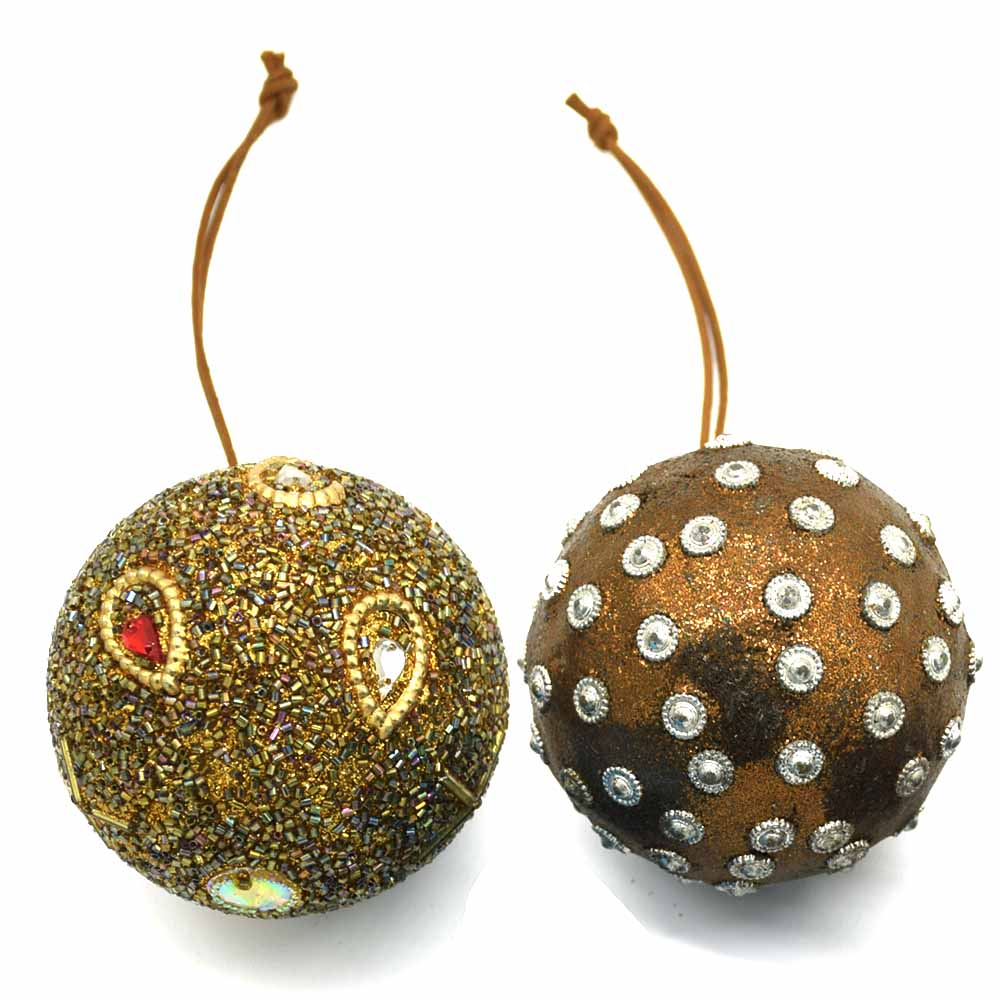Round Ornaments-Brown, Set of 2