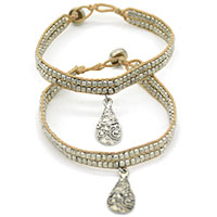 Silver Thread & Beads Anklets,Set of 2