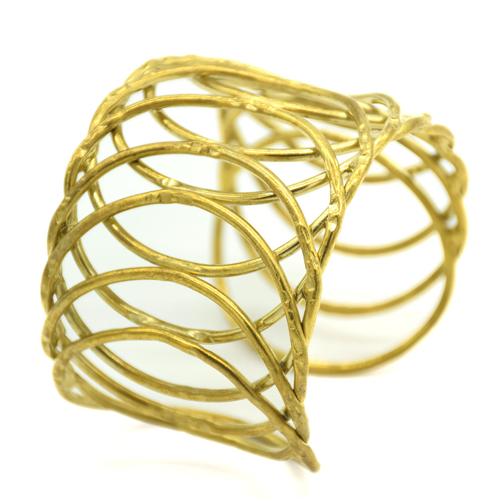 Wire Crossed Gold Plated Cuff