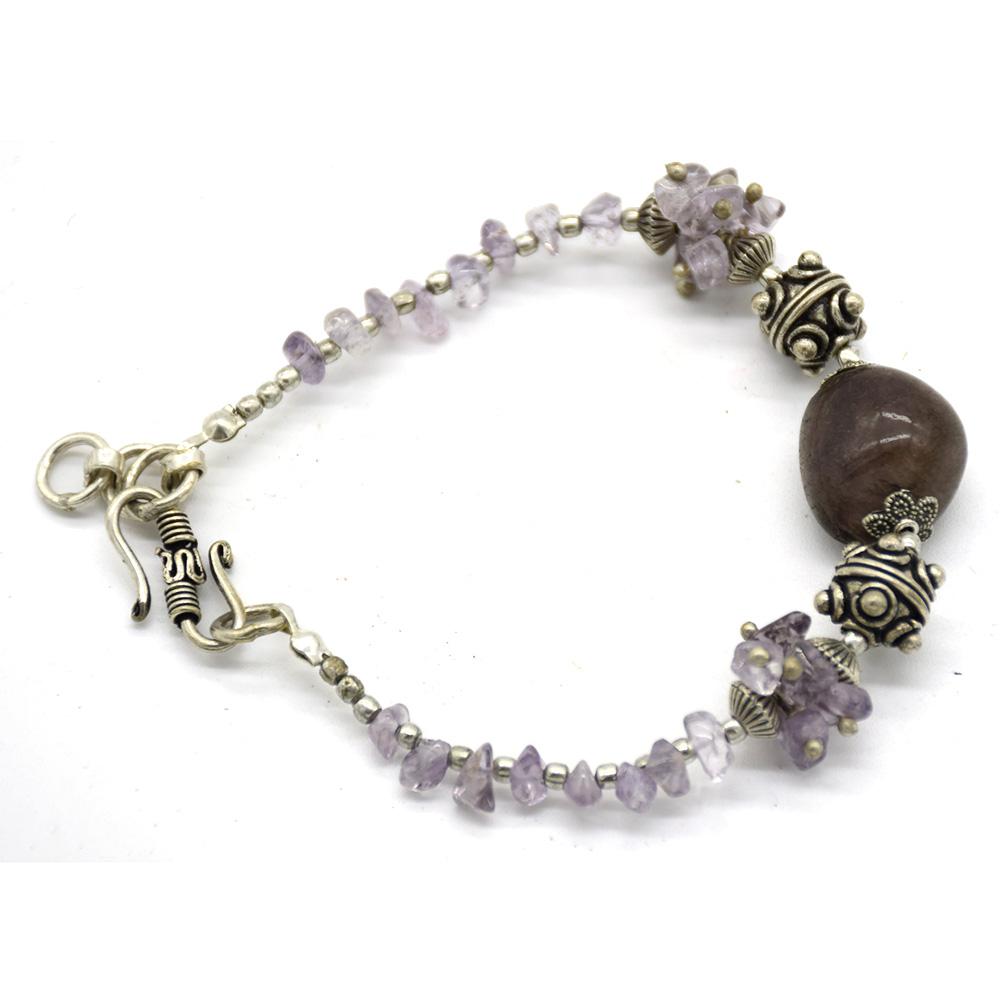 Amethyst Stone Silver Bracelet