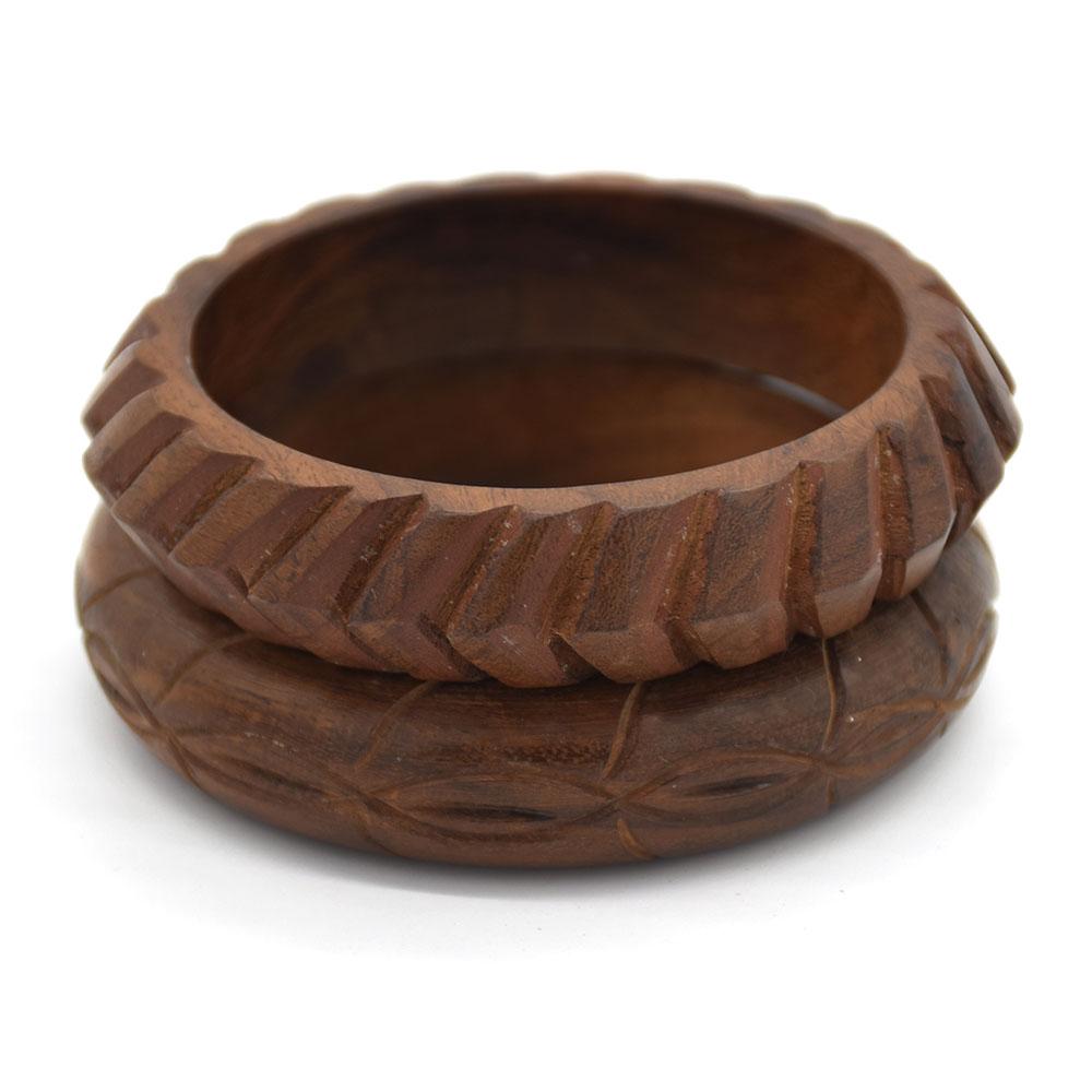 Wood Carving Bangle Set