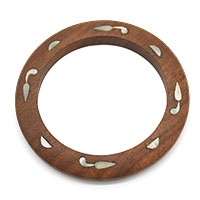 Round Wooden Bangle with Shell Inlay