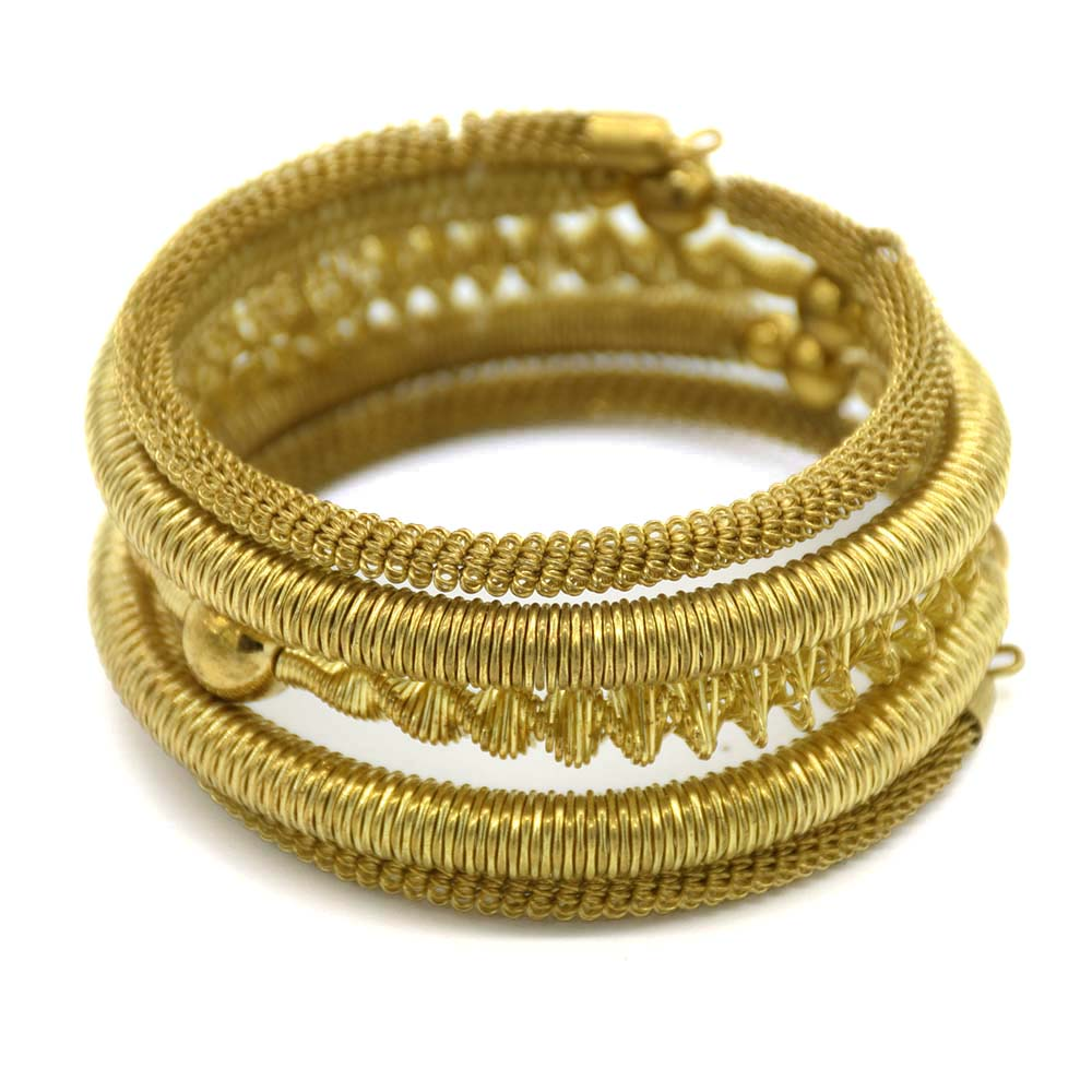 5 Rows Round Wire Gold Plated Bangle