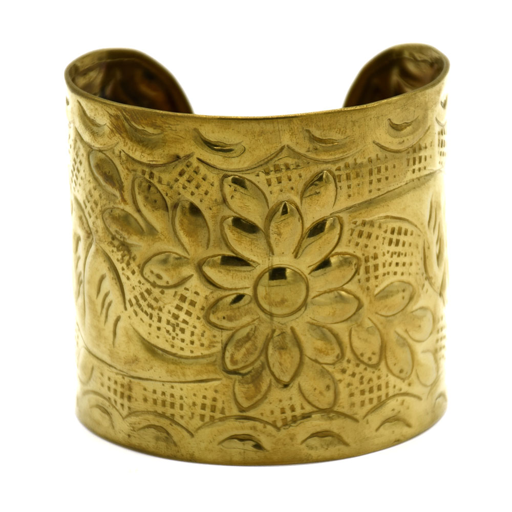 Flowers & Leaves Brass Cuff