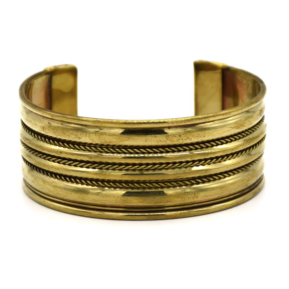 3 Rows Wire Design Brass Cuff