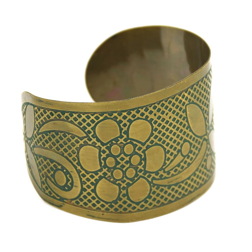 Flower Green Color Dull Brass Cuff