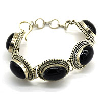 Black Onyx Oval 5 Pieces Bracelet