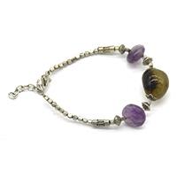 Amethyst Onyx Silver Bracelet
