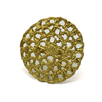 Round Jali Simple Brass Gold Plated Finger Ring