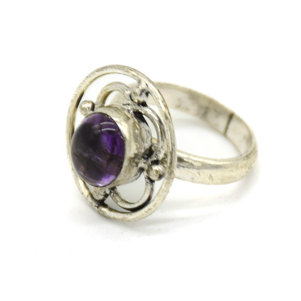 Amethyst Stone Net Silver Finger Ring