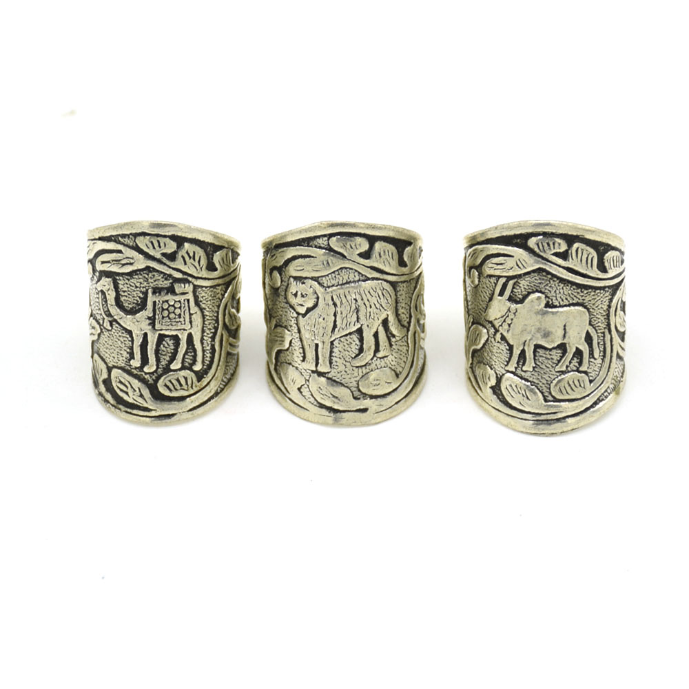 Tiger Camel & Cow Medium Silver Finger Rings