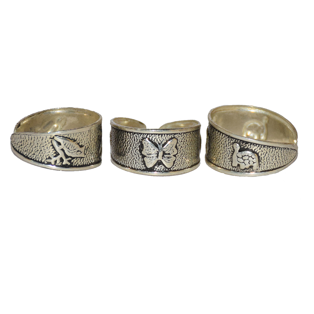 Butterfly Tortise & Frog Silver Finger Rings-Set of 2