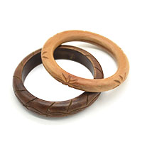 Carved Wood Bangle Set