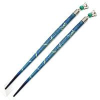Green Bead Hair Pins-Butterfly-Set of 2