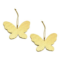 Butterfly Ornaments-Golden, Set of 2