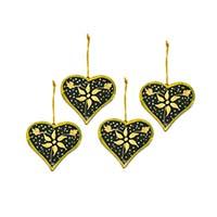 Green Heart Ornaments-Set of 4