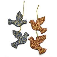 Chirping Birds Ornaments-Set of 4