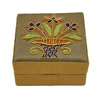 Floral Zardozi Embroidered Jewellery Box