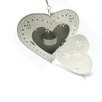 Hanging White Heart Tea Light Candle Holder