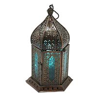 Anarkali Dull Blue Glass Lantern