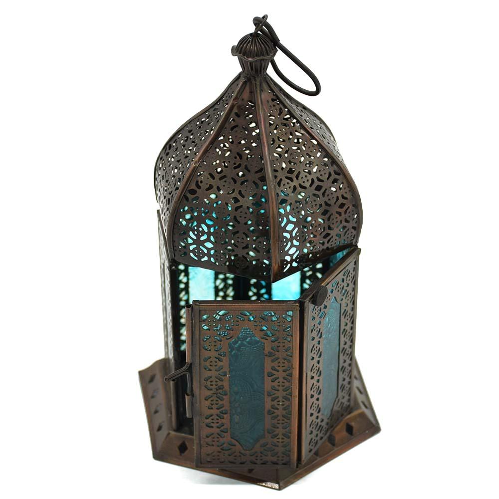 Anarkali Dull Blue Glass Lantern