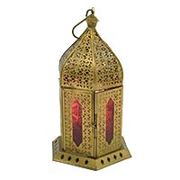 Devdas Jali Copper Coloured Glass Lantern