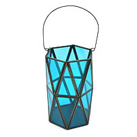 Blue Glass Decorative Lantern