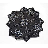 Beaded Coasters-Black-Set of 4