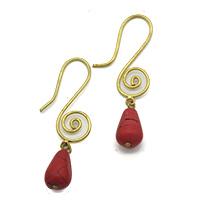 Spiral Red Drop Earrings