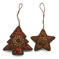 Christmas Tree & Star Ornaments-Set of 2