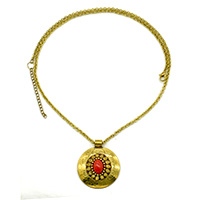Oval Coral Stone Round Pendant Gold Oxidised Long Chain Necklace
