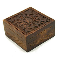 Carved Daffodils Decorative Wood Box