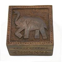 Marching Elephant Wood Box