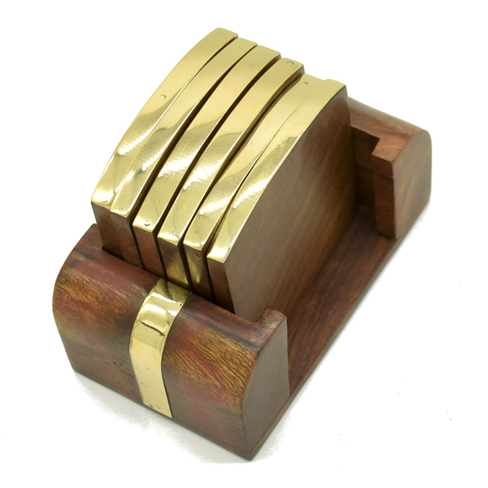 MCoA-1720,Wood and Brass Coasters1-Set of 4