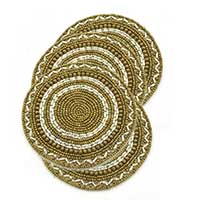 Beaded Round Hand Embroidered Coasters, Set of 4