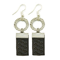 Black Embossed Leather Brass Earrings