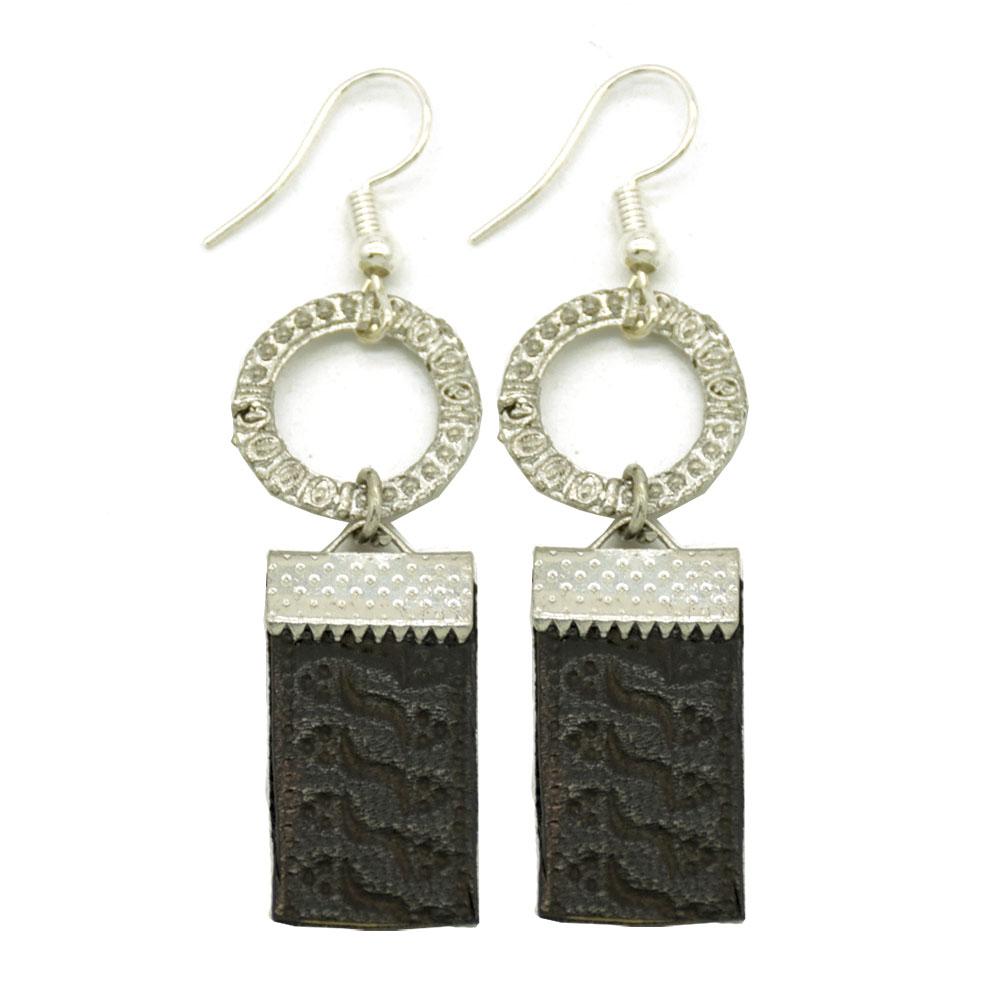 Black Embossed Leather Brass Earrings