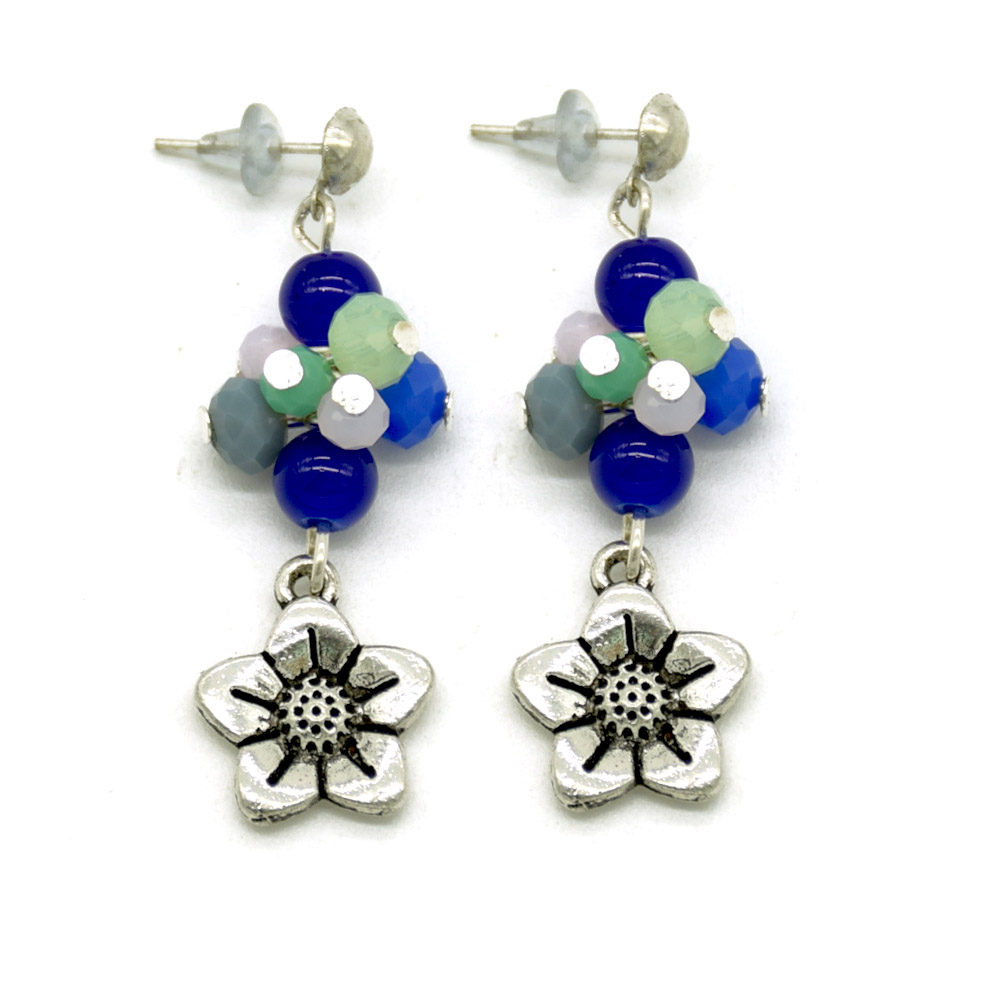 MEA-4192,Floral Glass Beads and Brass Hanging Earrings