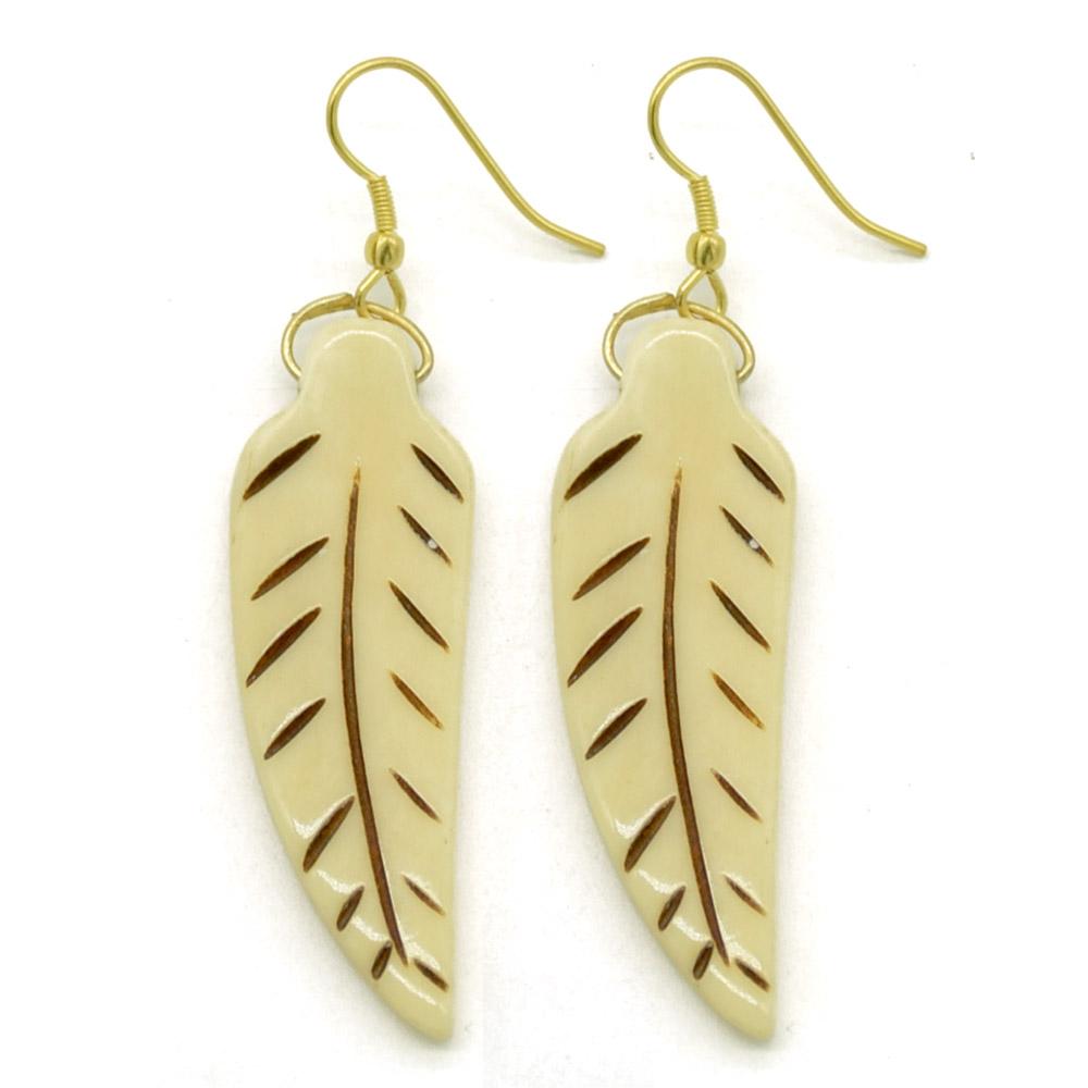 Bone Carving Leafy Earrings