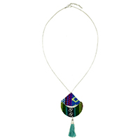 Triangle Moon Tassel Necklace