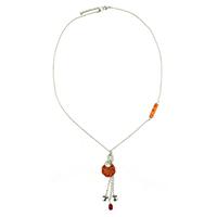 Orange Floral Hanging Silver Necklace