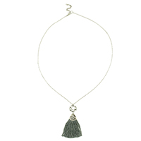 Grey Tassel Long Necklace