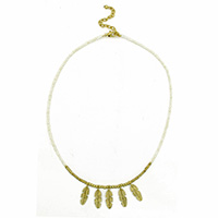 Leaves Charm Gold White Necklace